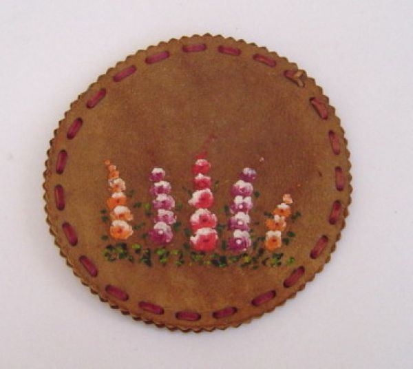 Leather compact cover with hand-painted flowers