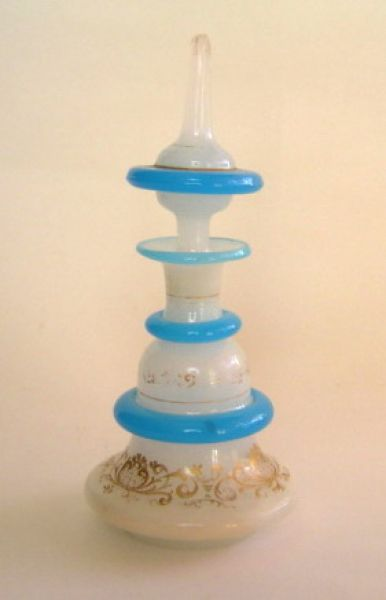 While Milk Glass bottle with blue bands