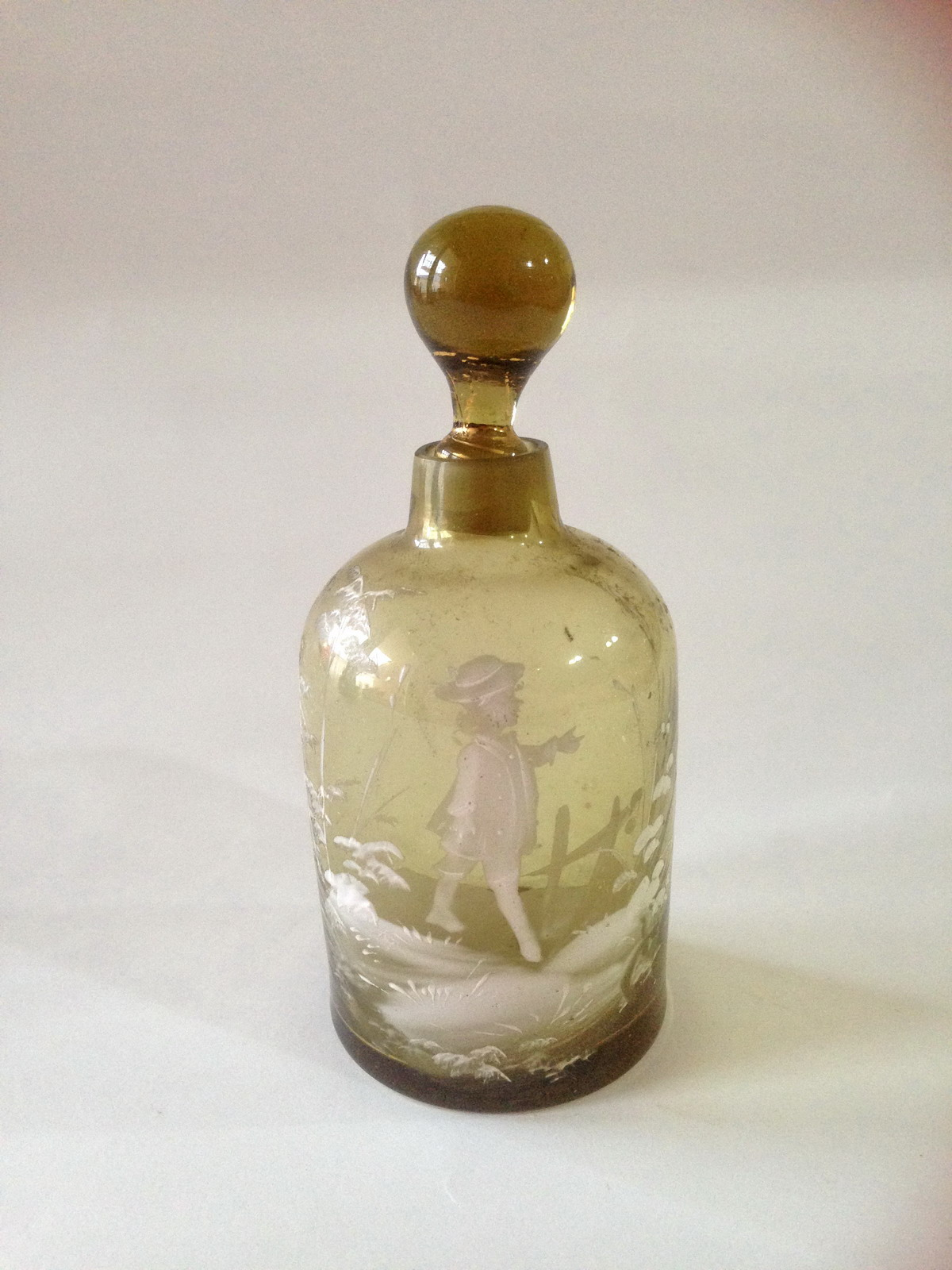 Mary Gregory amber/olive glass bottle
