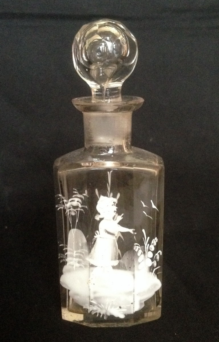 Mary Gregory - clear glass perfume bottle